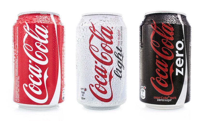 Bild mit Dosen von Coca Cola Light und Zero mit Aspartam