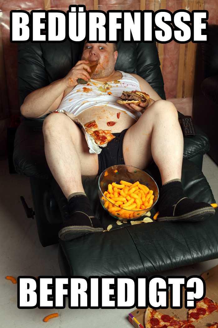 Fetter untrainierter Typ mit 40 Prozent Körperfettanteil