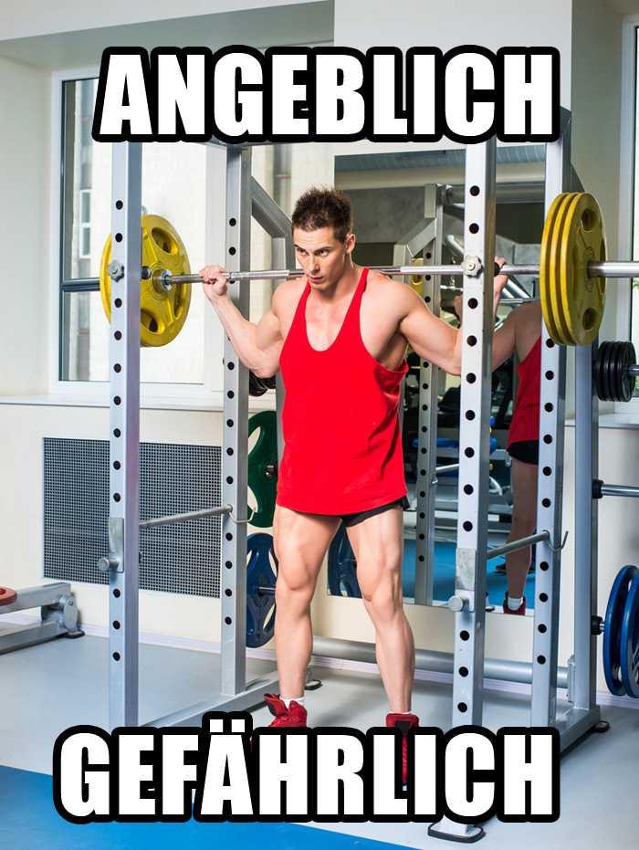 Laut Fitnessstudio sind Kniebeugen angeblich gefährlich. Das Foto zeigt Kniebeugen mit 110 kg Gewicht.